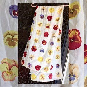 Vintage Pansy Print Silk Scarf